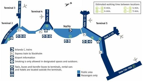 Схема аэропорта Арланда (Швеция) .